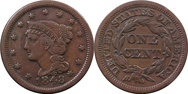 1848 Braided Hair Large Cent
