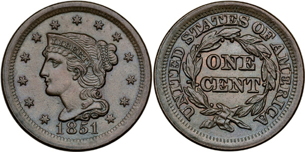 1851 Liberty Head (Braided Hair) Large Cent Obverse and Reverse