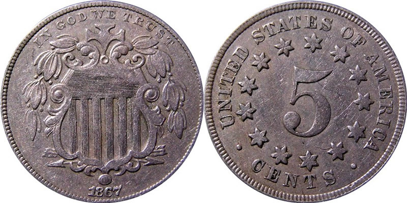 Shield Nickel 1867 Shield Nickel