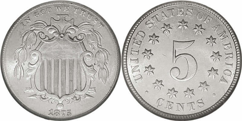 1875 Shield Nickel