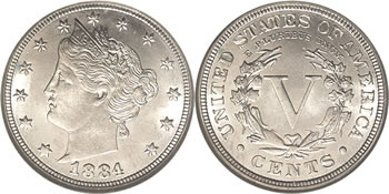 1884 Liberty V Nickel
