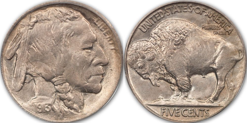 1913 Indian Head Buffalo Nickel Specifications - Five Cents in Exergue - Type 2