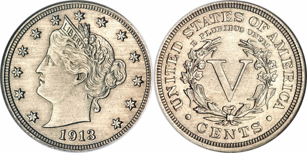 1913 Liberty Head V Nickel Olsen Specimen & Star of Hawaii Five-O
