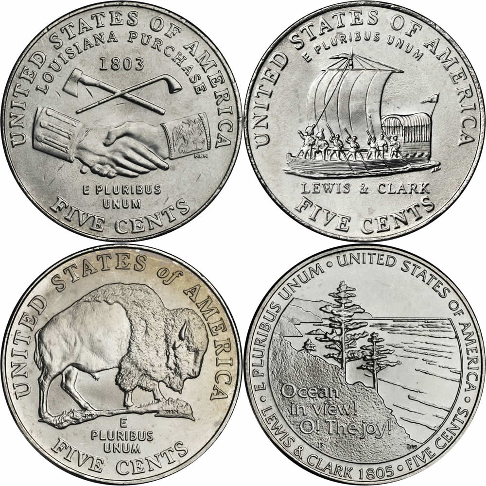 Jefferson Nickel Westward Journey Series Reverses
