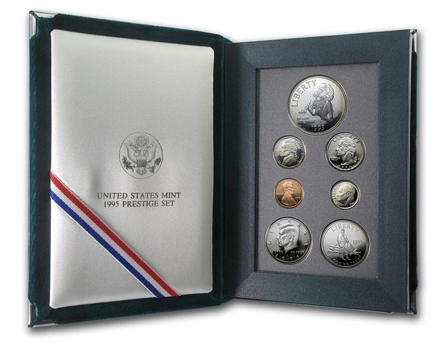 1995 Prestige Proof Set U.S Mint COA /& Box 7 coin With Civil War Silver Dollar