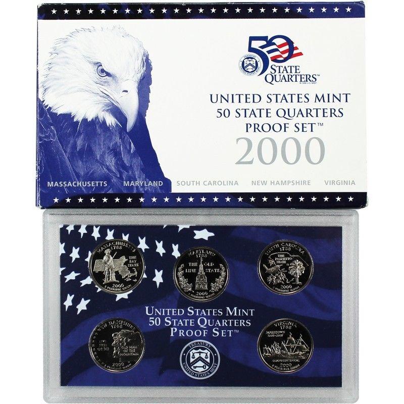 Set deep Cameo box /& COA S 2000 United States Mint 50 State Quarters Proof