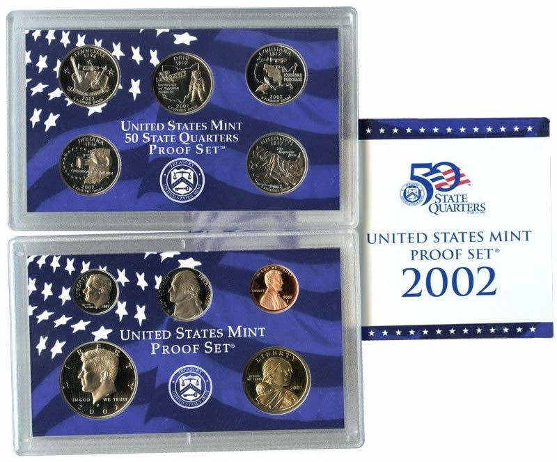Complete and Original in BLUE  mint paper box 2002-s U.S Proof Set