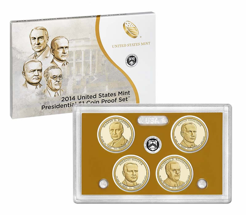 2013 S Presidential Dollar Proof 4 Coin Set United States Mint