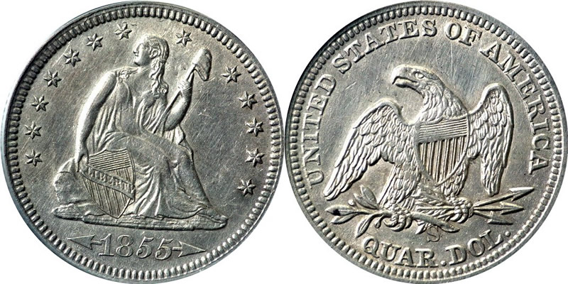 Seated Liberty With Arrows Quarter 1855 S Seated Liberty Quarter - With Arrows at Date