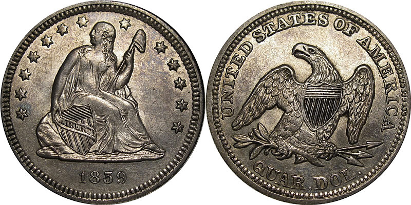 1859 Seated Liberty Quarter