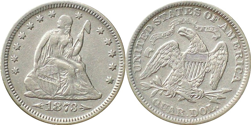1873 Seated Liberty Quarter with Arrows