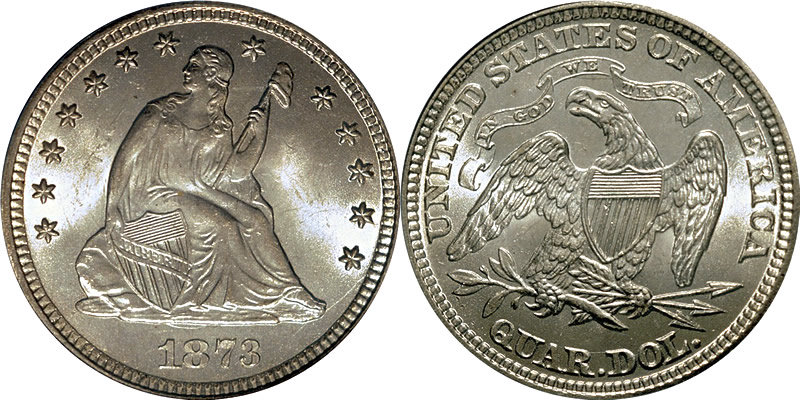 1873 Seated Liberty Quarter without Arrows