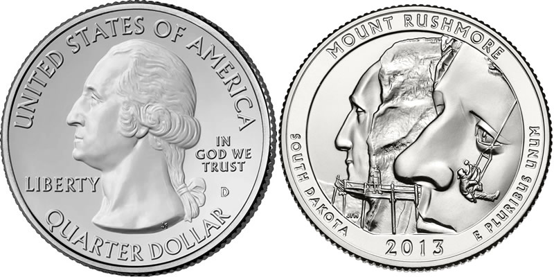 2013 D Mount Rushmore National Memorial America the Beautiful Quarter