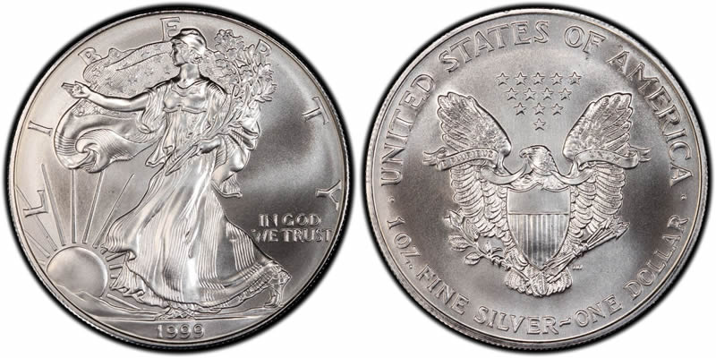 1999 American Eagle Silver Dollar Painted Value Dragon