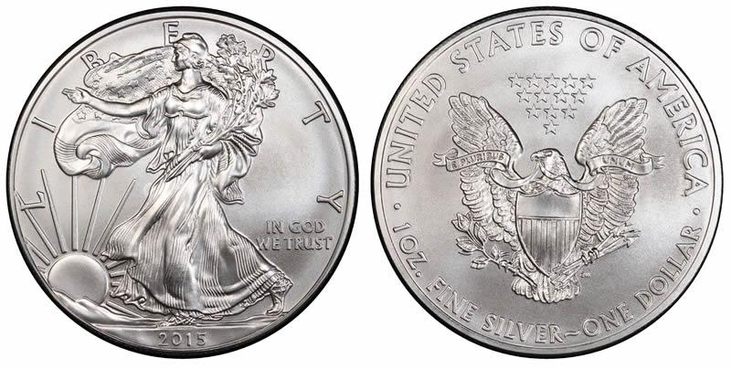 2015 Silver Eagle Fresh Out Of Tube .999 1 OZ