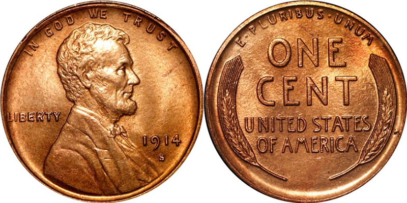 Lincoln Cents 1914 S Lincoln Wheat Cent