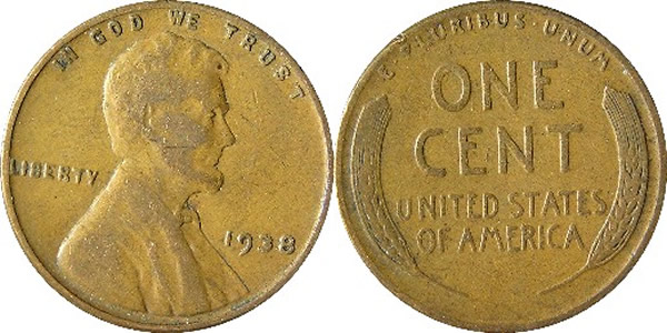 1938 Lincoln Wheat Cent