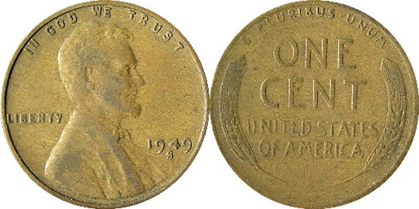 1949 S Lincoln Wheat Cent