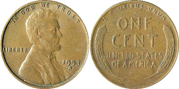 1953 S Lincoln Wheat Cent