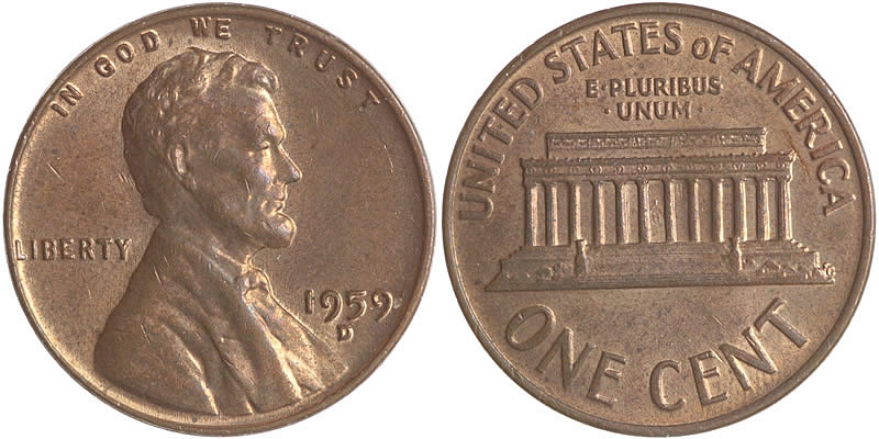 1959 D Lincoln Memorial Cent