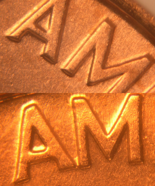 Lincoln Cent Wide AM and Close AM Comparison