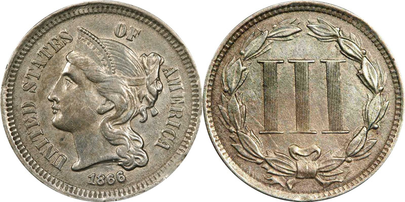 1866 Three Cent Piece - Nickel